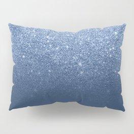 Modern trendy navy peony faux glitter ombre pattern Pillow Sham