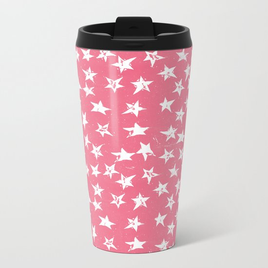 Linocut Stars- Blush & White Metal Travel Mug