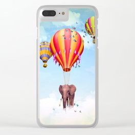 Elephant flying Clear iPhone Case