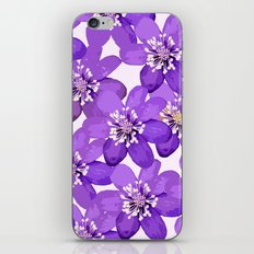 Purple wildflowers on a white background - spring atmosphere iPhone Skin