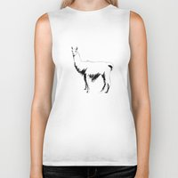 llama Biker Tanks featuring Llama by George Williams