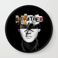 the godfather Wall Clocks featuring Godfather Mix 2 black by Marko Köppe