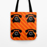 telephone Tote Bags featuring telephone by vitamin
