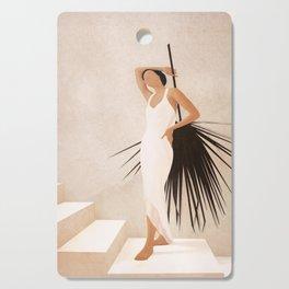 Minimal Woman with a Palm Leaf Cutting Board