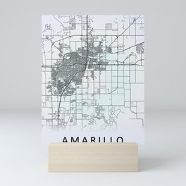 Amarillo TX USA White City Map Mini Art Print