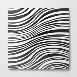 Modern Black & White Stipes - Zebra Animal Metal Print