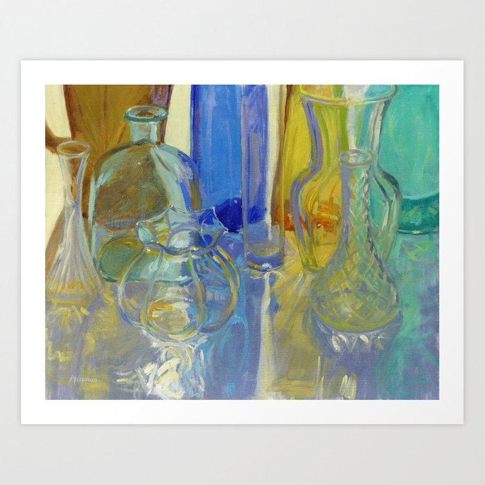 Colored Glass in Blue and Gold Art Print