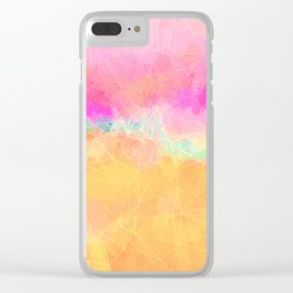 Modern Pastel Rainbow Cascade Abstract Clear iPhone Case