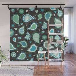 Pasley Turquoise Wall Mural