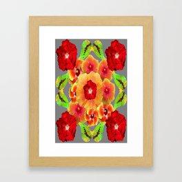 Kiwi Green Butterflies Red-Golden-pink Tropical Hibiscus Abstract Art Framed Art Print