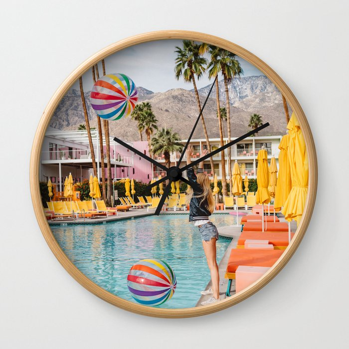 Palm Springs Pool Day IV Wall Clock