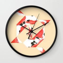 Tangram Koi - Yellow background Wall Clock