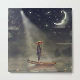 Chinese man  stands in boat  at river Metal Print