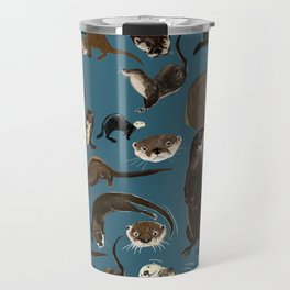 Otters of the World pattern in teal Travel Mug