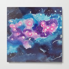 Tiny Astronaut and the Blue Nebula Metal Print