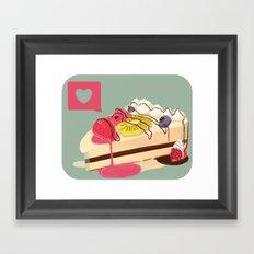 Berry Heart Cake Framed Art Print