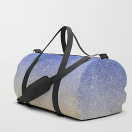 Modern sky blue faux gold ombre glitter Duffle Bag