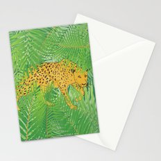 Leopard with tropical leaves Stationery Cards