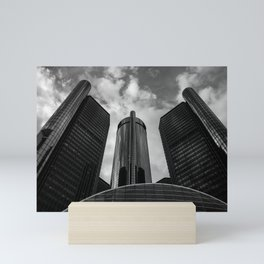 Renaissance Center in Black and White Mini Art Print