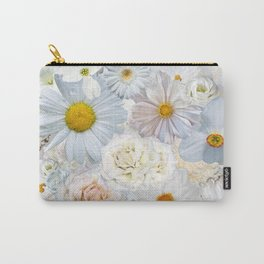 White Floral Bouquet Mixed Flower Pattern Carry-All Pouch