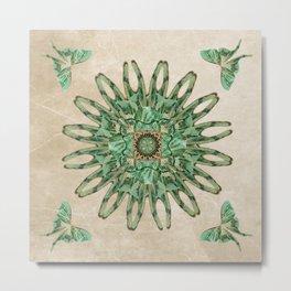 Luna Moth Circle  Metal Print