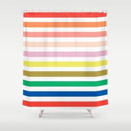 Rainbow stripes colorful decor for kids room nursery boy or girl Shower Curtain