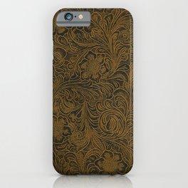 Vintage Art Nouveau woodcut on faux leather pattern iPhone Case