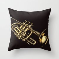 trumpet Throw Pillows featuring trumpet by Ancello