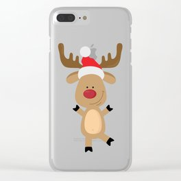 Dancing Rudolph Red Nosed Reindeer Merry Christmas Clear iPhone Case