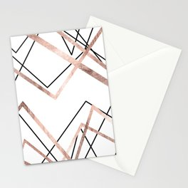 Rose Gold White Linear Triangle Abstract Pattern Stationery Cards
