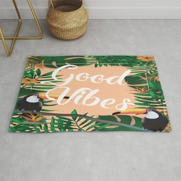 Good Vibes With Tropical Leafs and Toucans Rug