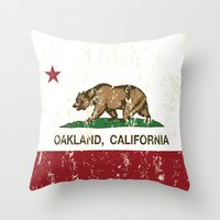 oakland Throw Pillows featuring Oakland California Republic Flag Distressed  by NorCal