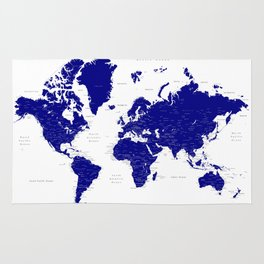 """Navy blue detailed world map with cities, """"Nevin"""" Rug"""