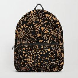 Gold on Black Floral Doodle Backpack
