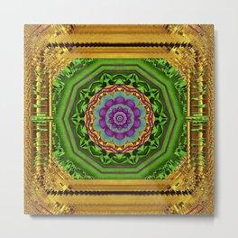 Lotus Pond In Gold Pattern Metal Print