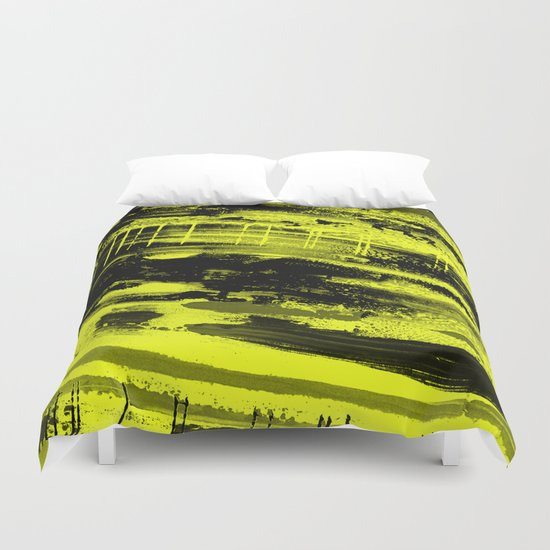 Study In Yellow - Abstract, yellow painting Duvet Cover