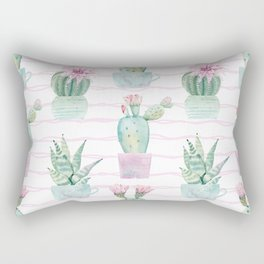 Cute Potted Cacti Stripe Pattern Rectangular Pillow