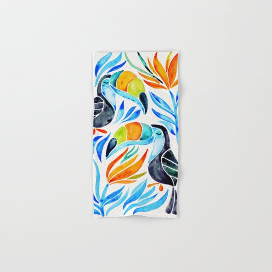 Tropical Toucans – Blue Leaves Hand & Bath Towel