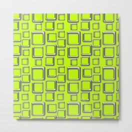 Silver Squares On Fluo Green Metal Print