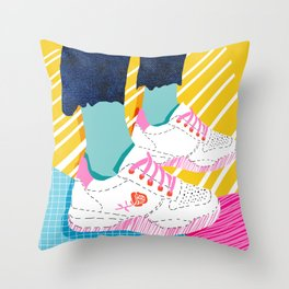 Butter - throwback 80s style vibes shoes fashion sneakers 1980's trend memphis art Throw Pillow