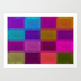 blue pink green purple pixel background Art Print