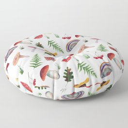 Mushrooms, leaves, grass, mountain ash. Drawn with colored pencils. Floor Pillow