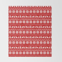 Soft Coated Wheaten Terrier Silhouettes Christmas Sweater Pattern Throw Blanket