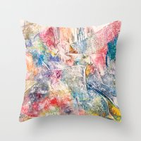 moon phase Throw Pillows featuring Phase by Tiffany Tremaine (birdy)