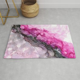 Pink Divide: Original Abstract Alcohol Ink Painting Rug