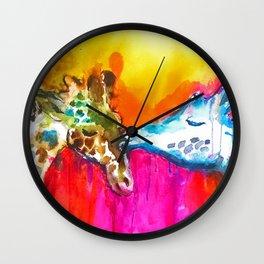 Giraffe Kiss Wall Clock