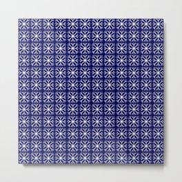snowflake 14 For Christmas blue Metal Print