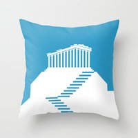 greece Throw Pillows featuring GREECE by Marcus Wild