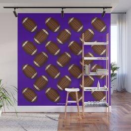 Footballs Design on Purple Wall Mural