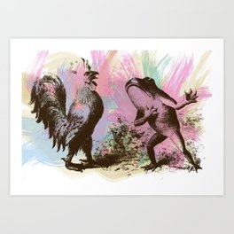 Frog and Rooster Art Print
